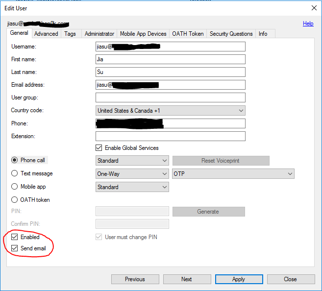 Azure Multi-Factor Authentication Server not sending emails