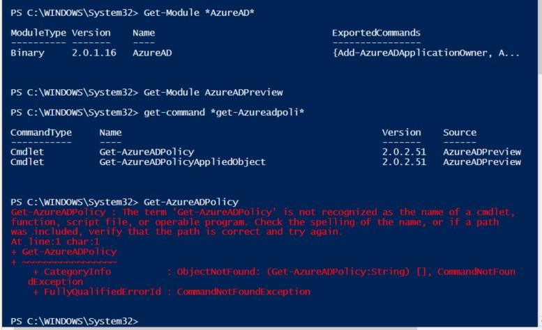 AzureAD PowerShell error1