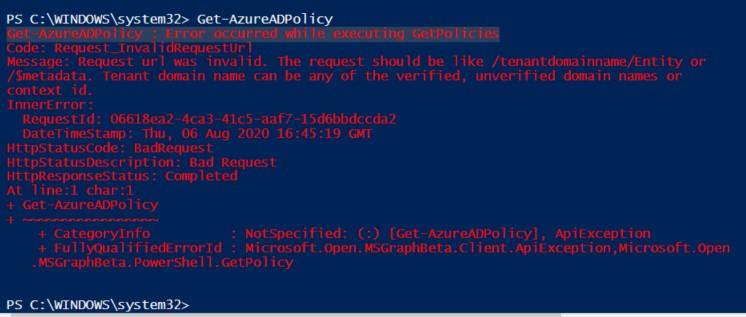 AzureAD PowerShell error2