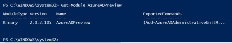 AzureAD updated PowerShell module